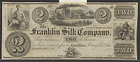 Franklin, Ohio The Franklin Silk Company, $2 Remainder, vChAU